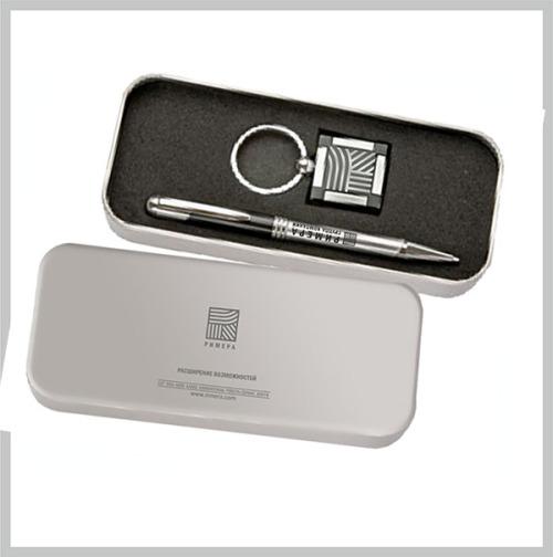 Сувениры с нанесением — ручка металлическая и брелок металический в брендированном футляре