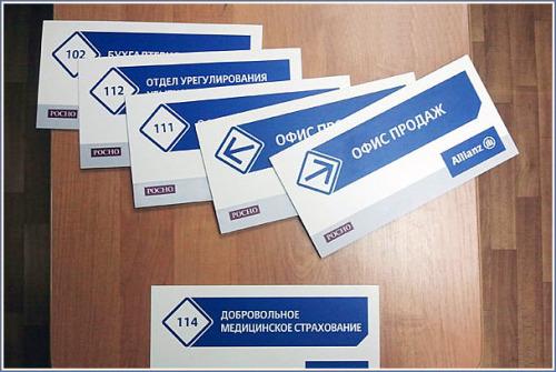 Таблички указатели для системы навигации в офисе