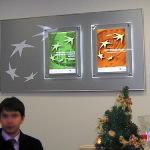 ПОС- материалы световые постеры на стене банка
